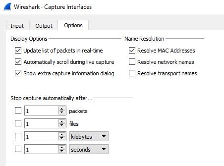 Wireshark's Capture Options